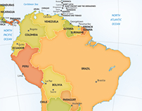 Map of continent South America