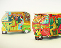 Bombay Auto Rickshaws | Set of 2 DIY paper toys