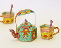 Masala Chai Kettle & Tea Cups: DIY Paper Toys / Boxes
