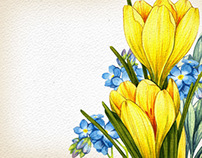 Watercolor flowers. Seamless patterns.