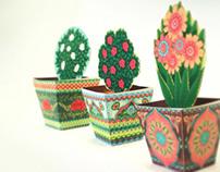 Flower Pot Boxes: Set of 3 Favor Boxes/ Paper Toys