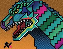 "Godzilla for ""TOKYO IMAGINE"" Furoshiki Exhibition"