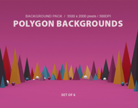 Polygon Backgrounds Set of 6 Color