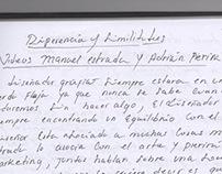 diferencias y similitudes, caligrafiar minúsculas