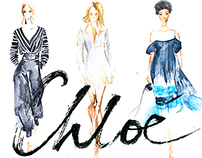 Fashion Illustrations inspired by Chloe Spring 2017