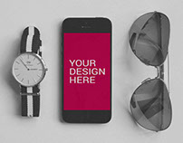 iPhone 5 With DW Watch Mockup - Free PSD