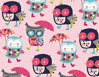 """Hooting in the rain"" owl novelty fabric"