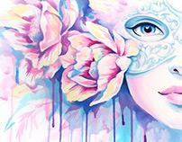 Tenderness. Watercolor illustrations