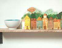 3D Paper Landscape Calendar 2014