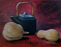 teapot and pumpkins