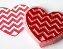 Chevron heart stamp