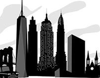 Black and white city skylines