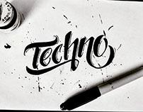 """Lettering """"techno"""""""