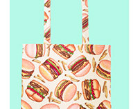 HAMBURGER TOTE BAG WITH BANANA &UNICORN