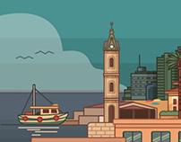 Wall illustration for Facebook Tel Aviv