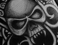 Skull Ornament - Drawing