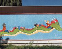 Muurschildering school 'De Triangle' te Hasselt