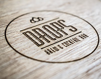 Drops, Brew and Cocktail Bar. Logo and Menus.