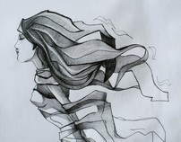 Ink Pencil and paper.
