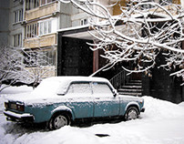 Snow in a Tenement Neighborhood, Moscow, 2007