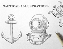 Vintage Nautical Ink Illustrations