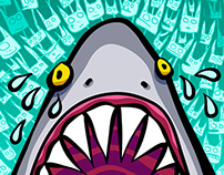 Skate Deck: Sad Shark Eating a Cat