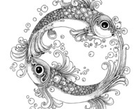 Black And White Pointillism Style Illustrations
