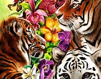 Tigers and Flowers, Jungle Artwork