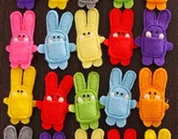 felt bunnies - pins & bookmarks