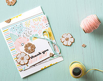 spring-themed paper and stamp set design