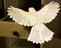 Hand made paper and wood Robin