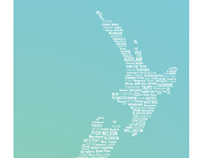 New Zealand Map Word Art Print