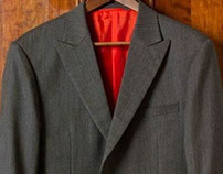 Grey Herringbone Suit with orange lining