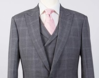 Grey Plaid 3-piece suit: jacket, trouser & waistcoat