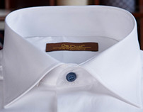 White Twill Shirt with Blue Buttons