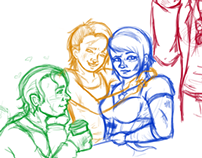 Queer Force Five Character Design Sketches