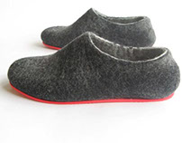 Men's Felt Slippers Charcoal + 8 colors of rubber sole