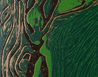 Woman in the Wood, Woodcut Print