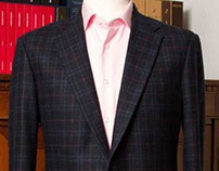 Navy Windowpane Plaid with Rust Decoration Jacket