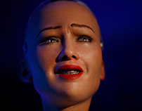 Humanoid robot Sophia in Nepal