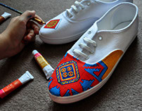 Painting on shoes.