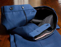 French Blue Solid Cavalry Twill Trousers