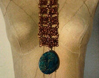 Custom hand-made necklace, copper and jasper.