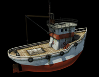 Cartoony fishing boat