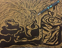 Candles Linoleum Block Print