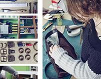 reportaje y tríptico de bolso artesanal