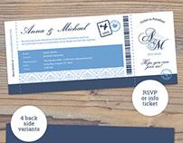 Elegant Boarding Pass Wedding Invitation RSVP