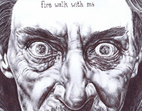 'fire walk with me' bic biro drawing of Bob from Twin..