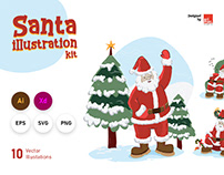 Hand drawn vector Santa Illustration kit