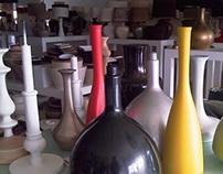 Colecção de candeeiros em cerâmica e tela